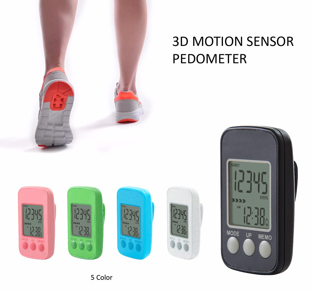 New Designed Waterproof Precise Fitnesss Tracker Walking 3D Sensor Pedometer With Clip And Strap