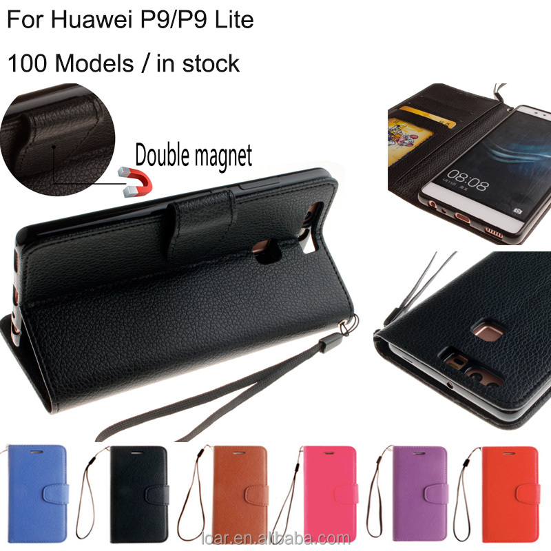 100 Models Black Stand Lichee Pu Wallet Flip Case For Huawei P9 P9 lite Mobile Phone Cover