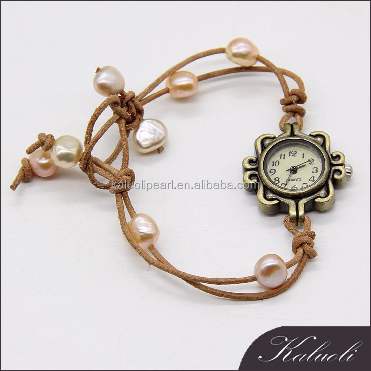 2015 new products christmas decorated pearl bracelet genuine leather watch