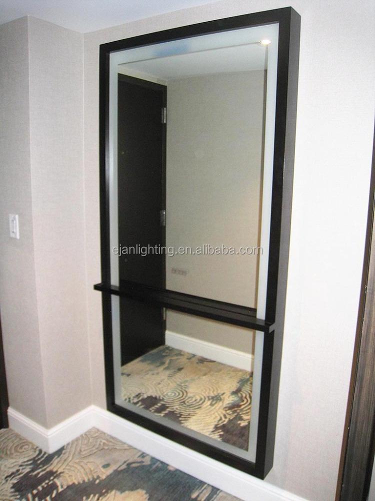 Wood framed bathroom backlit mirror with concealed led for Espejos de cuerpo entero