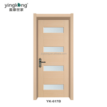 YINGKANG Brand North America interior economic high quality pvc /wpc molded wooden door design with glass window