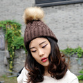 CX-C-74B 2017 Street Fashion Design Hats Winter Beanie Removable Fur Christmas Fur Pom Pom Hat