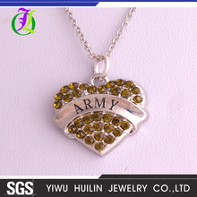 A500344 Yiwu Huilin Jewelry simple amber crystal ARMY heart large rhinestone necklace