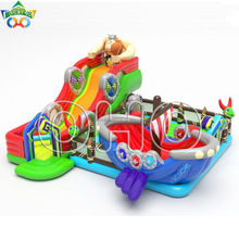 2018 combo inflatable fun city with buncer, slide and obstacle, kids party games