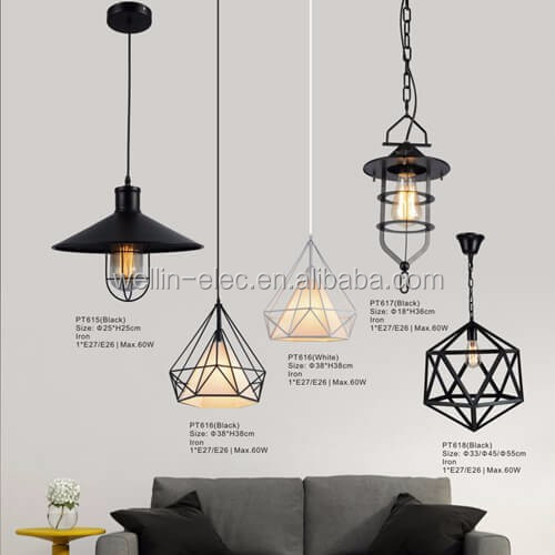 Energy Saving Black/White Cage Pendant Light, Diamond Edison Vintage Lighting for Home