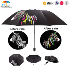 Fashion Magic Color Changing Umbrella In Rain Ultra-Light Full Printing 3 Folding Umbrellas OEM