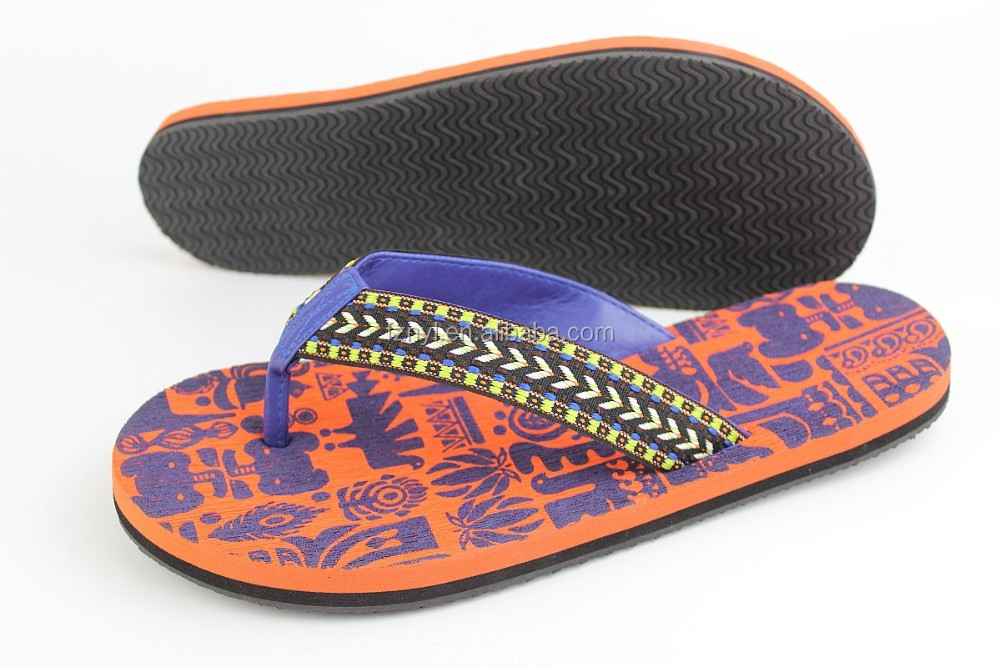High quality colorful cotton fabric strap with personized eva beach printed slipper sandals