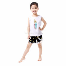 White Tank Top With Feather Applique Gold Polka Dots Black Short Boutique Girl Clothing Sets