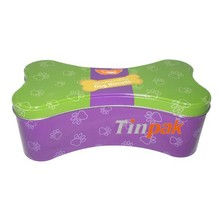 food storage dog bone shaped tin box