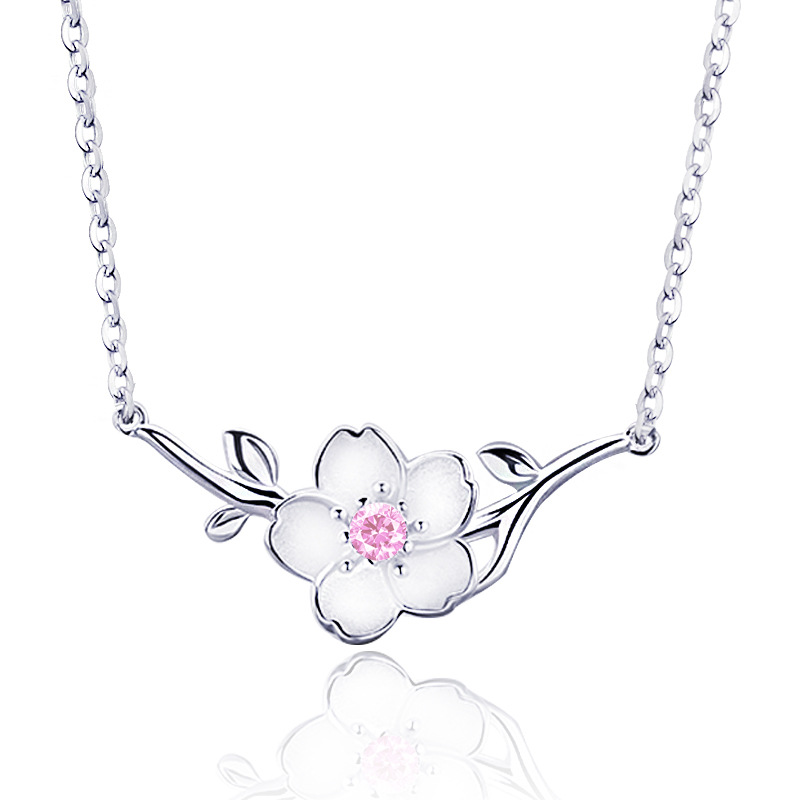 ATHENAA 925 Sterling Silver Jewelry Little Sakura Flower On the Tree Branch Necklace