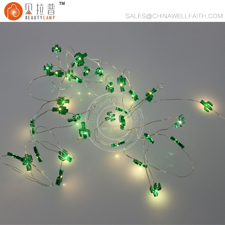 Little cacti LED fairy silver wire string lights