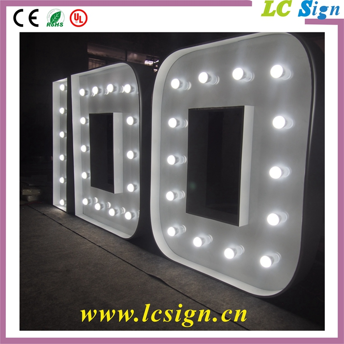Illuminated sign bulbs letters advertising front light for 24 inch channel letters