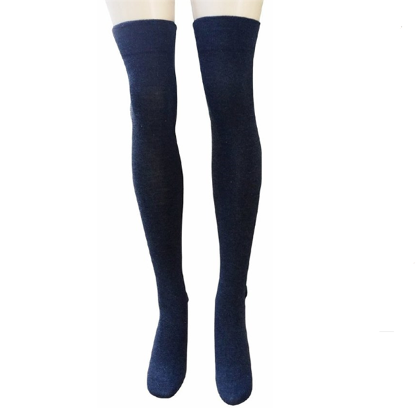 GSWT-10 GS custom dark blue cotton sexcy young girl long length thigh high socks women