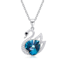 Crystals from Swarovski jewellery 925 Sterling Silver Swan Pendant Necklace