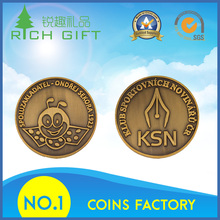 Golden supplier china custom metal 3D antique brass cute animal panda pattern coins for home decoration