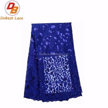 Wholesale Sequin Royal Blue Net Lace Fabric