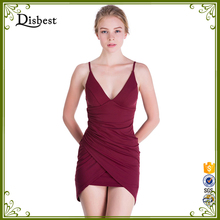2017 Sexy Deep V-Neck Fitted Slim Style Strap Backless No Panties Sexy Summer Dress Girl