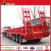 PHILLAYA High quality,widely used low bed tri-axle semi trailer(can add side wall guard post and so on)