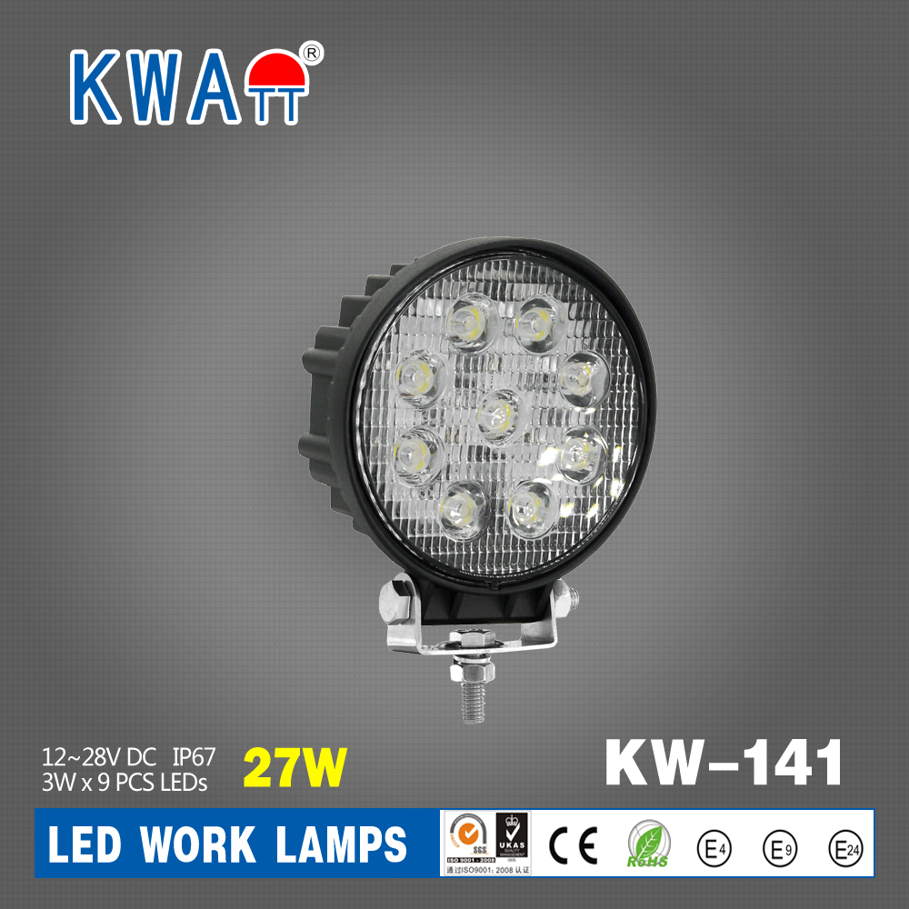 Factory High Quality 27W LEDs12V-24V Round Offroad Vehicle Led Work Light for Truck Boat Car Cabin with RoHS CE