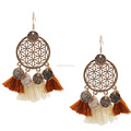 New circle tassel earrings autumn and winter wool earrings ethnic style long section jewelry