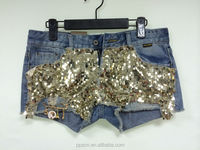 OEM wholesale china sexy sequin mini short jeans