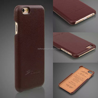 For iPhone 6/iPhone 6 Plus Classic Color Genuine Leather Back Case With Card Slot