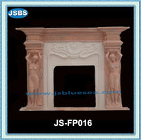 Asian Western Marble Fireplace With Woman Carvings