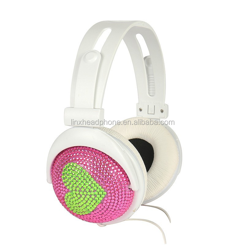 Best colorful DJ Stereo headphones bling diamond headphone