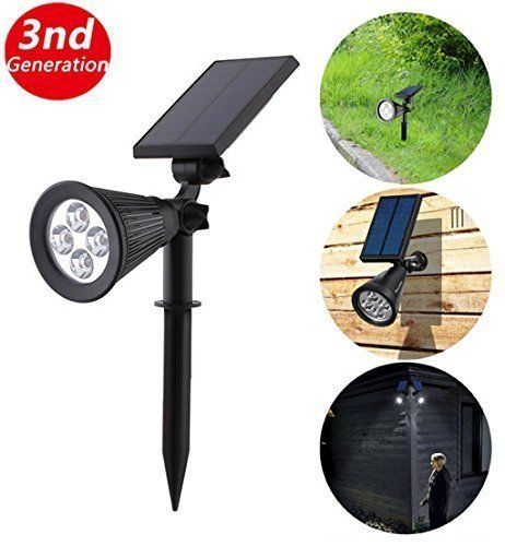 3rd Generation solar spot lawn light, Adjustable 4led solar spotlight landscape lights powered outdoor lighting for garden lamp