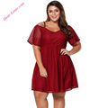 Burgundy Chiffon Sexy Cold Shoulder Women Clothing Plus Size Dress