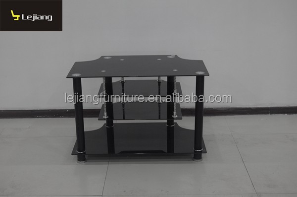 black tempered glass simple design corner tv stand LBTV115