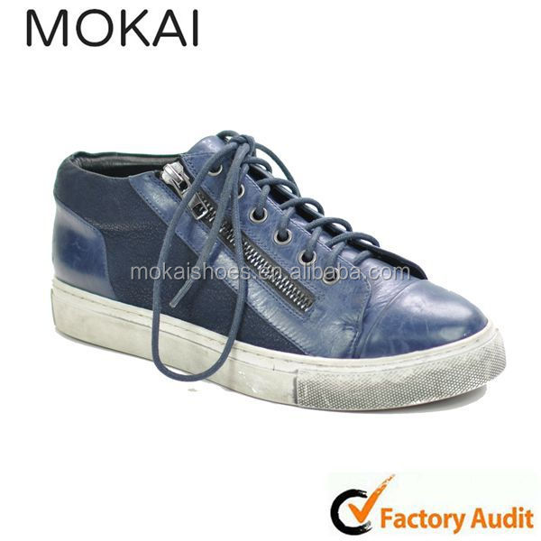 J001-14 DEEP BLUE & ROYALBLUE men leather sneaker, sneaker supplier china