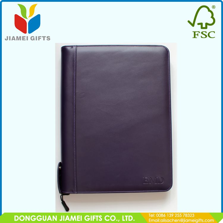 multi-function zippered leather legal sizen ring binder business portfolio