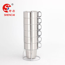 Stainless Steel Tea Cup Drinking Water Coffee Mug Set With Rack