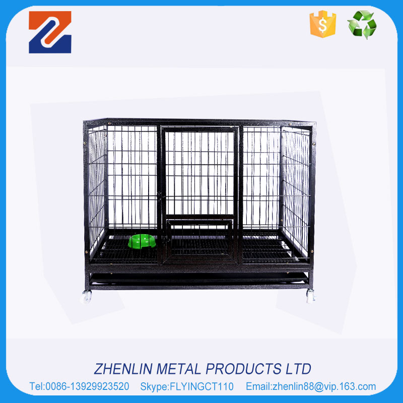 China factory tube stainless steel dog cage with wheels for sale cheap