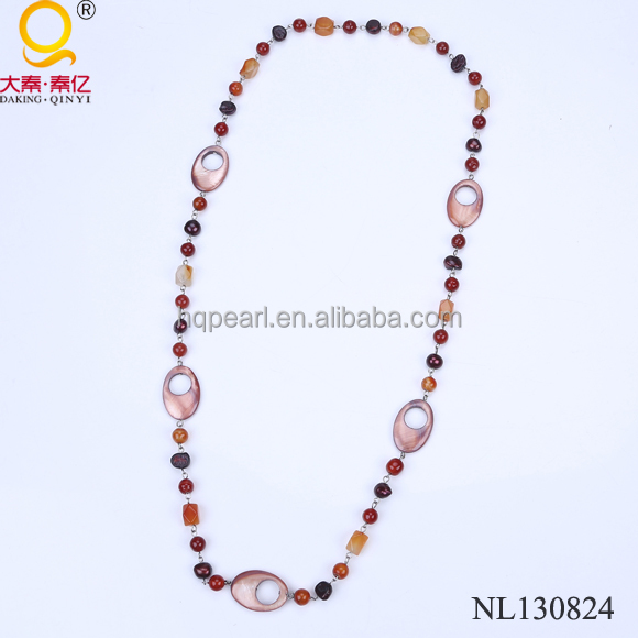 shell and stone necklace designs for ladies suit