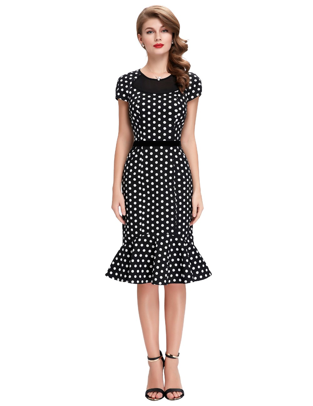 Belle Poque Stock Cap Sleeve Vintage Retro 1950s Cotton Polka Dots Mermaid Bodycon Dress BP000176-1