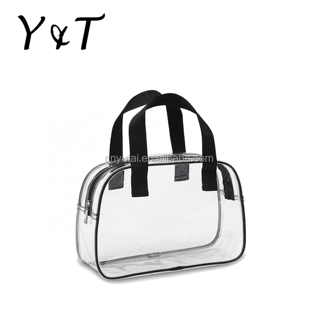 Clear PVC durable hand cosmetic bag with certifications