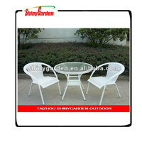 3 pcs rattan furniture set white rattan chair outdoor synthetic rattan furniture