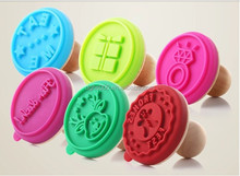 silicone cookie stamp wooden handle rubber stamp custom rubber Handle Cake Stamp