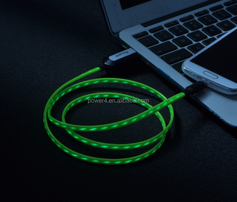 Flat cable EL Light glowing Micro USB Charger Cable for android phones