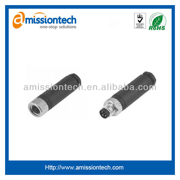 3-4 pins waterproof metal locking system M8 connector