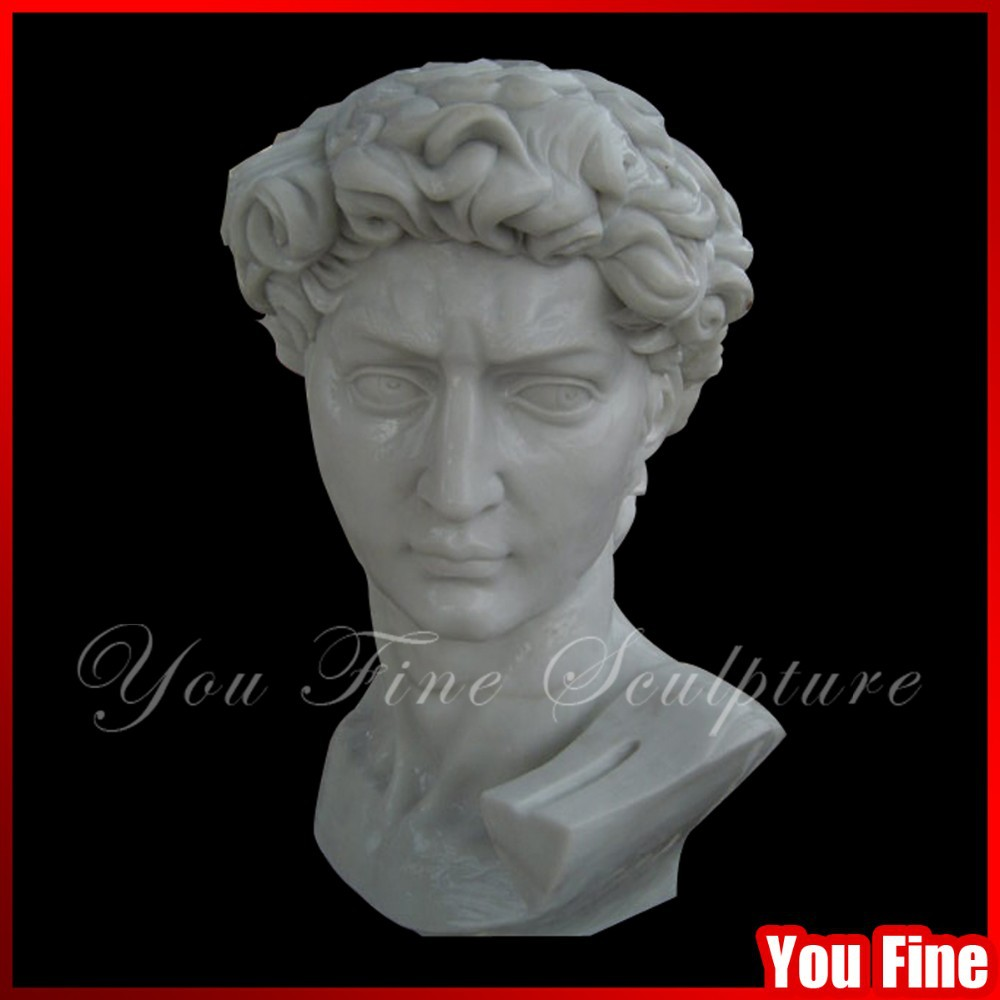 Exquisite White Marble Bust of David