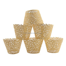 50Pcs Gold Hollow Carving Decor Wrappers Wraps Cupcake Muffin Paper Cup Holders