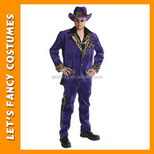Free shipping wholesale pimp fancy dress halloween party costume for men