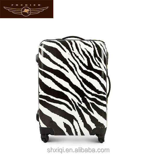 Zebra-stripe fashion animal print ABS travel luggage bag/trolley luggage