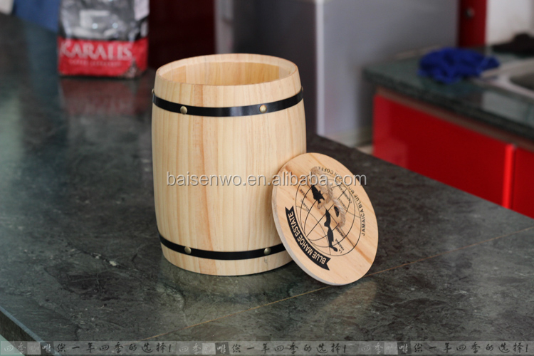 Elegant coffee bean storage tank imitation <strong>oak</strong> barrels caddy wooden seal pot Large small coffee shop decoration
