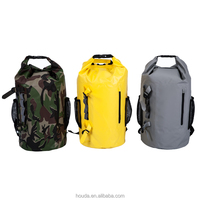 Hot Waterproof Dry Bag PVC Tarpaulin Backpack with Shoulder Strap Custom Logo Multifuctional Dry Sack with Mesh Pocket