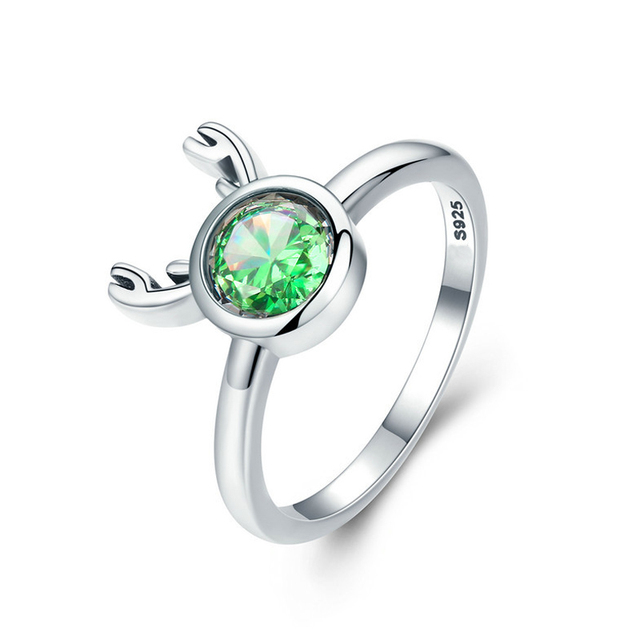 KSR1027 Fashion New 925 Sterling Silver Christmas Cute Deer Animal Finger Rings for Women Green Crystal Silver Jewelry