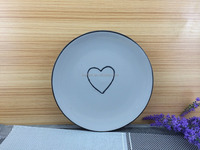 round ceramic flat plate with heart design insaid